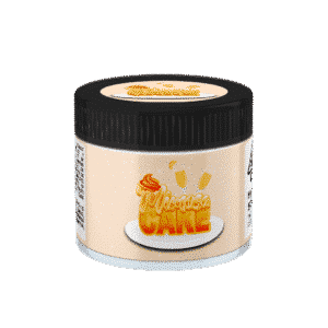 Mimosa Cake Glass Jars. 60ml suitable for 3.5g or 1/8 oz.