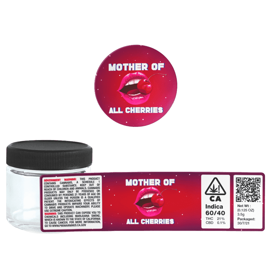 Mother of All Cherries Glass Jars. 60ml suitable for 3.5g or 1/8 oz. Unlabelled.